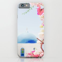 Santorini Greece Mamma Mia Pink Flowers iPhone Case