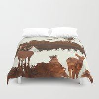 woodland Duvet Covers featuring woodland by jefdesigns