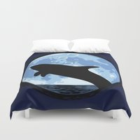 onesie Duvet Covers featuring Dolphin bubbly in the moonlight by kamonkey