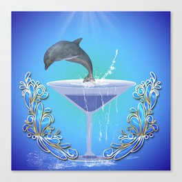 Dolphin jumping out of a glass  Canvas Print