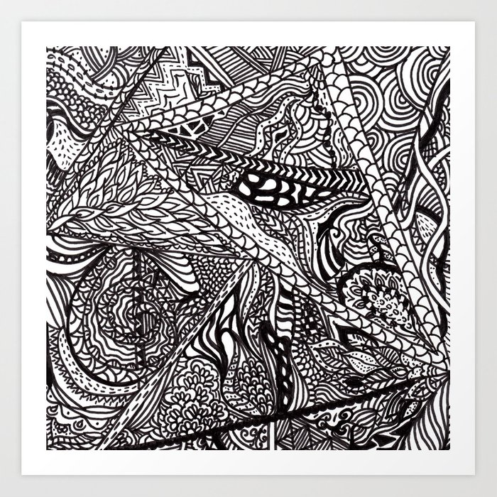 Black White Abstract Paisley Doodle Geometric Pattern Art Print By Girlytrend