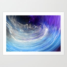 Abstract Stream in Sky Blue and Purple Art Print