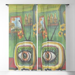 TeleVizion....The EYE is watching you thru the tube Sheer Curtain