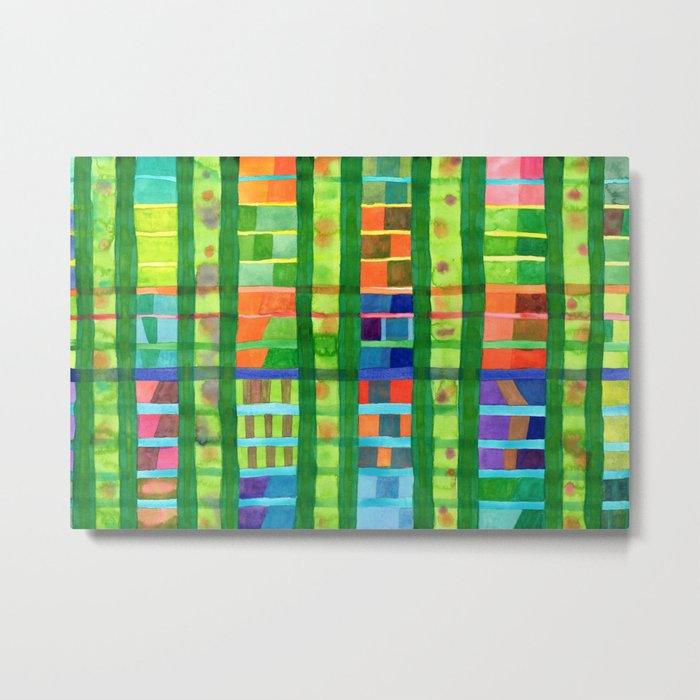Colored Fields With Bamboo Metal Print