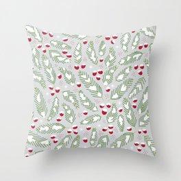 Winter Berries in Gray Throw Pillow
