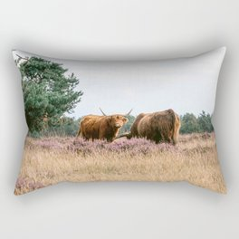 Two grazing Wild Scottish Highlander cows in national park | Cattle in Nature | Veluwe park, the Netherlands | Travel photography Rectangular Pillow
