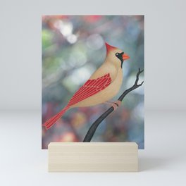 female Northern cardinal bokeh background Mini Art Print