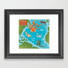 Seamonsters of the Atlantic Ocean Map Framed Art Print