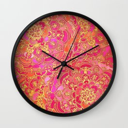 Hot Pink and Gold Baroque Floral Pattern Wall Clock