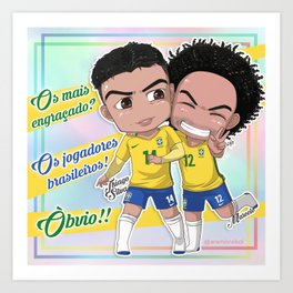 Jogadores Brasileiros Art Print
