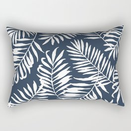 Tropical Palm Leaves - Palm Leaf Pattern - Navy Blue Rectangular Pillow