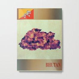 Bhutan Map with Flag Metal Print