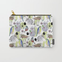 Seamless pattern with the monkey, Bilby, parrot, cactus, bird, porcupine. Jungle style. Summer backg Carry-All Pouch