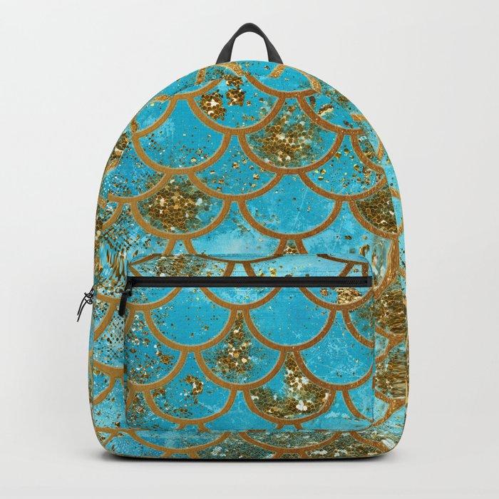 Aqua Teal & Gold Glitter MermaidScales - Mermaid Scales And Sea Foam Backpack