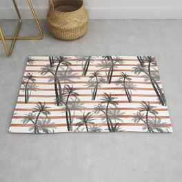 Tropical black gray rose gold stripes palm tree floral Rug