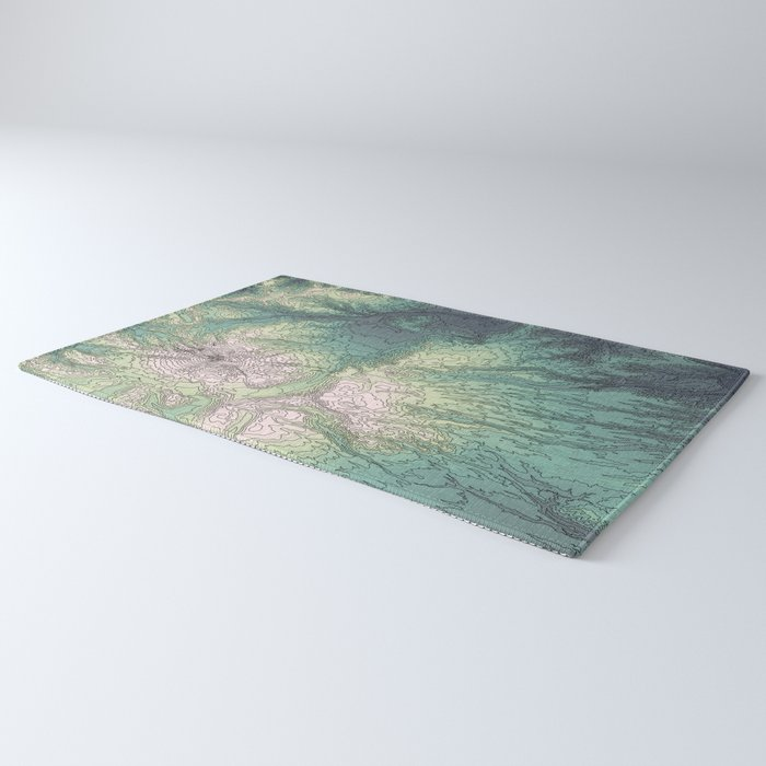 Mount Hood, Oregon Topographic Contour Map Rug