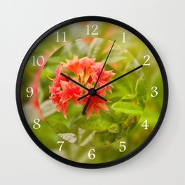 Rhododendron called Azalea red flowers Wall Clock