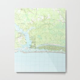 Oak Island North Carolina Map (1990) Metal Print