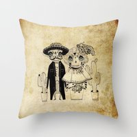 day of the dead Throw Pillows featuring Day of the Dead by Mono Ahn