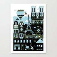 paris Canvas Prints featuring Paris by koivo
