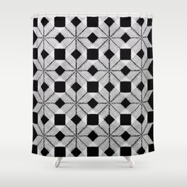 Silver Snow, Snowflakes #01 Shower Curtain