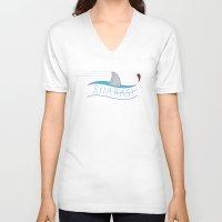 sharks V-neck T-shirts featuring Sharks! by Basik1 Design