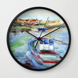 Sea harbor and boat Wall Clock