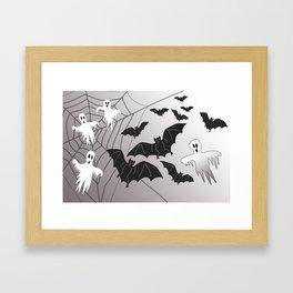 Ghosts and Bats Spiderweb Halloween Framed Art Print