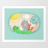 happy birthday Art Prints featuring happy birthday by Lidija Paradinović Nagulov - Celandine