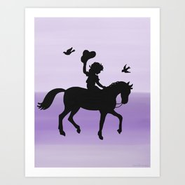Girl and horse silhouette lavender Art Print