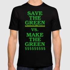 Save The Green vs. Make The Green SMALL Black Mens Fitted Tee