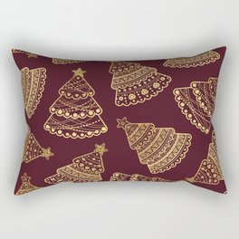 Chic Faux Gold Red Christmas Holiday Tree Pattern Rectangular Pillow