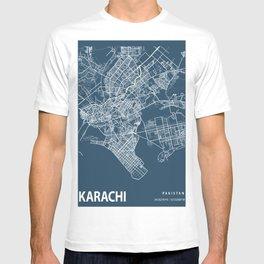 Karachi Blueprint Street Map, Karachi Colour Map Prints T-shirt