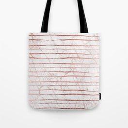 Stylish rose gold glitter stripes white marble pattern Tote Bag