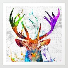 Red Deer Watercolor Grunge Art Print