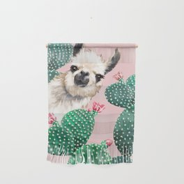 Llama and Cactus Pink Wall Hanging