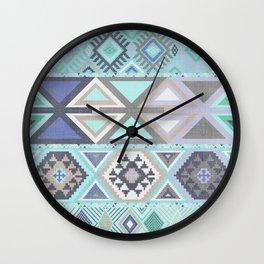 Aztec Artisan Tribal in Mint Wall Clock