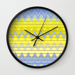 Simple Yellow Grey and Periwinkle Blue Zig Zag Modern Wall Clock