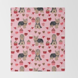 Yorkie valentines day yorkshire terrier hearts cupcakes dog breeds dog gifts pet portraits Throw Blanket