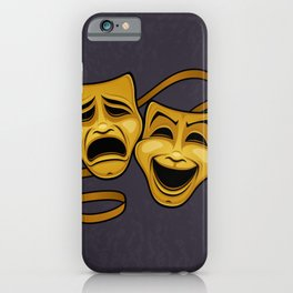 Gold Comedy And Tragedy Theater Masks iPhone Case
