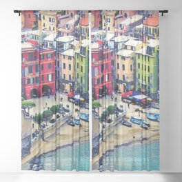 Italy Liguria Cinque Terre Seaside Colorful Houses Sheer Curtain