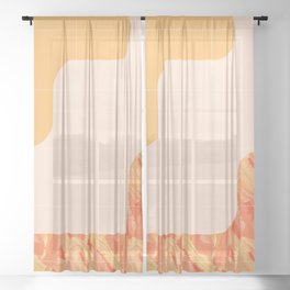 Mid-Century Tropical Orange Way #society6 #tropical Sheer Curtain