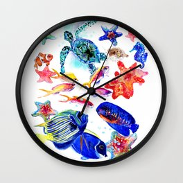 Sea World,Underwater Scene coral sea, beach tropical ocean sea beach house design Wall Clock