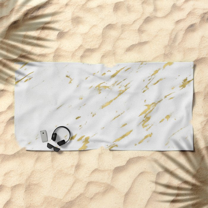 Marble - Yellow Gold Marble Design Beach Towel