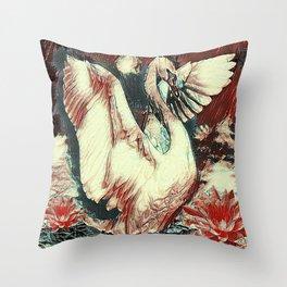 WHITE SWAN BROWNS & GREY  MODERN ART DESIGN Throw Pillow