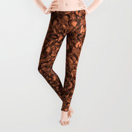 Brown Orange Copper Bronze Texture Motif Leggings