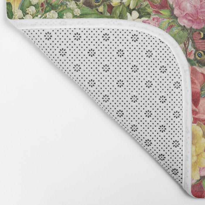 Vintage Retro flower pattern old fashioned Bath Mat
