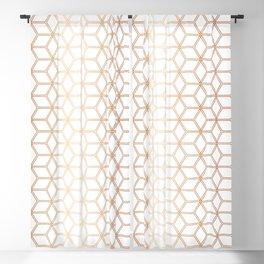 Geometric Hive Mind Pattern - Rose Gold #113 Blackout Curtain