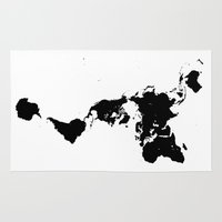 bucky Area & Throw Rugs featuring Dymaxion World Map (Fuller Projection Map) - Minimalist Black on White by Elegant Chaos Gallery