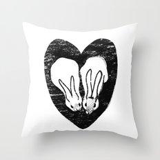 Huddling Rabbits Throw Pillow